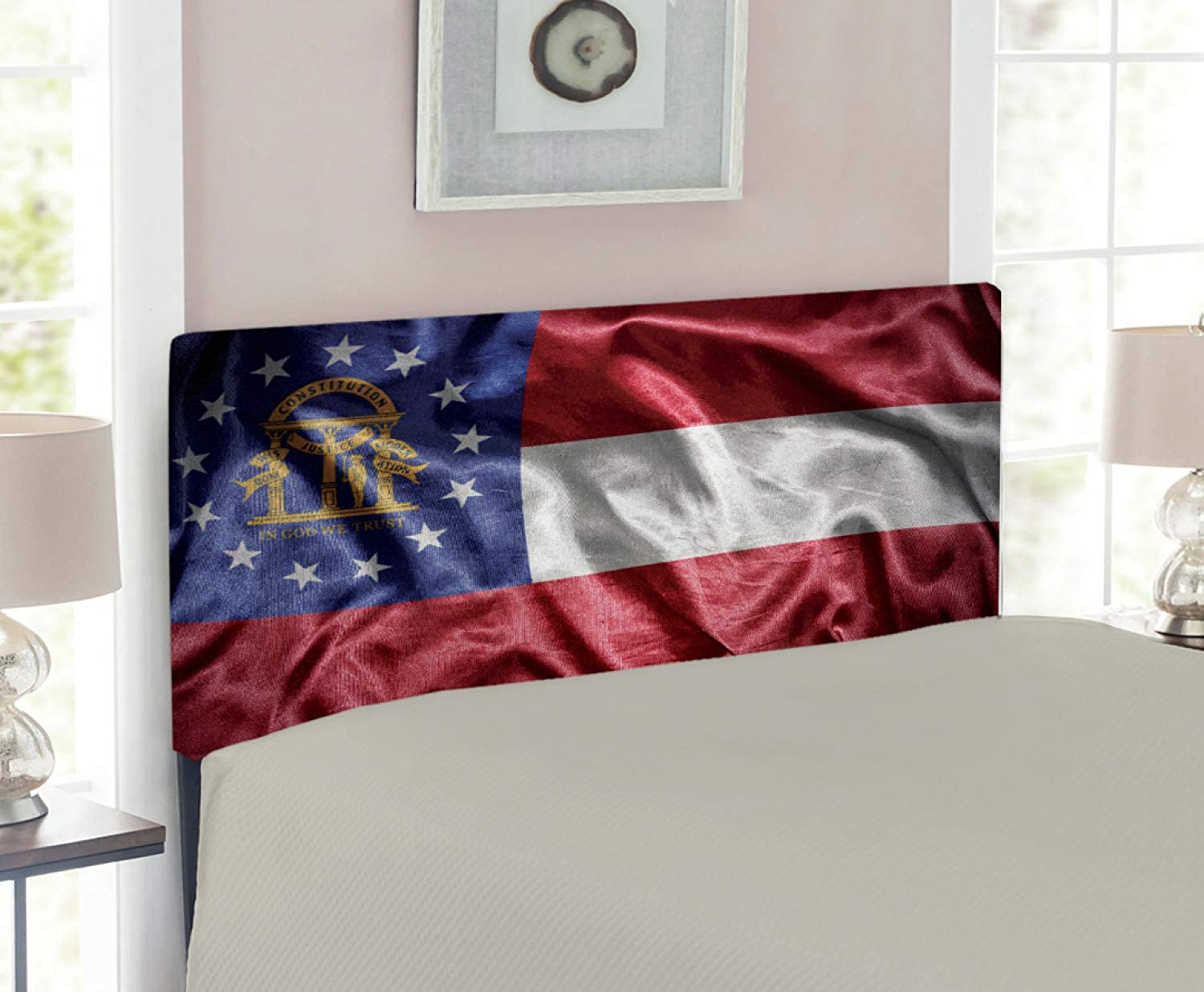 Lunarable American Headboard for Twin Size Bed, Waving Georgia State Flag Stripes State's Coat of Arms Patriotic, Upholstered Decorative Metal Headboard with Memory Foam, Navy bluee Red and White