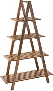Hanie Design SG-105NTR Sunset Garden Series Cascade Shelf | 4-Tier Real Wood Ladder Bookcase, Natural