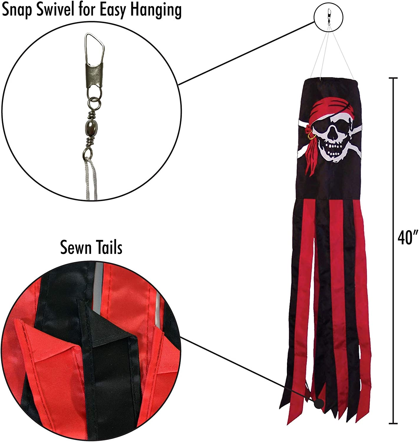 40 Inch Breeze In The Windsock Calico Jack-101,6 cm