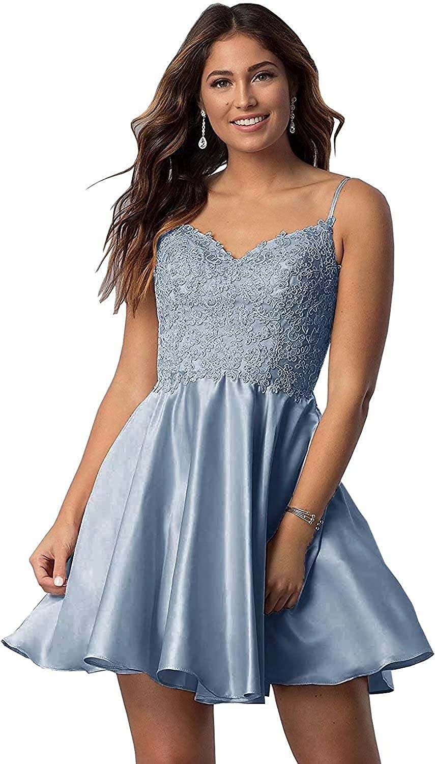 X/L Short Spaghetti Straps Homecoming Dresses Lace Appliques Beaded Satin Evening Prom Gown with Pockets Cocktail Dress
