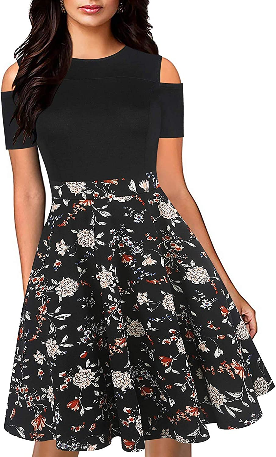 oxiuly Women's Chic Off Shoulder Floral Flare Patchwork Party Cocktail Casual Pockets Swing Dress OX266
