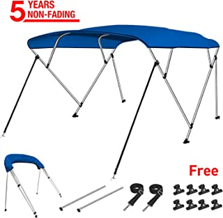 RVMasking 4 Bow Bimini Top Boat Cover with 2 Rear Support Pole + 2 Straps + Storage Boot + 8 Deck Mounts, 800D Solution-Dyed Fabric, 8'L x 54