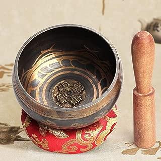 QStyle Tibetan Singing Bowl Set,Meditation Sound Bowl With Mallet and Cotton Cushion Yoga Singing Bowl for Meditation, Healing, Prayer, Mindfulness