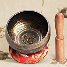 QStyle Tibetan Singing Bowl Set,Meditation Sound Bowl With Mallet and Cotton Cushion Yoga Singing Bowl for Meditation, Healing, Prayer, Mindfulness