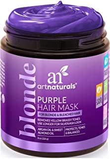 ArtNaturals Purple Hair Mask for Blonde, Silver & Platinum Hair - Removes Yellow Brassy Color, Repairs Dry & Bleached Hair...