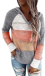SHOBDW Sudadera para Mujeres Cuello Alto Jersey Cárdigan Sexy Elegante Camiseta Larga Jersey Pullove Casual Jersey Vestido...