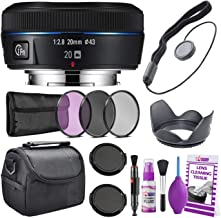 Samsung 20mm f/2.8 Wide-Angle Pancake Lens (Black) NX Mount EX-W20NB + Warranty + Cleaning Kit + Case + Accessories Bundle