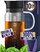 100% Airtight Cold Brew Glass Coffee Maker Iced Tea Maker Juice Water Carafe Server with Removable Permanent Double Mesh Stainless Steel Filter (1L)