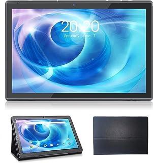 ケース付き10インチタブレット、Android 10タブレット(GMS認定)、3GB RAM 32GBストレージ、1.6GHzクアッドコアプロセッサー、WiFiタブレット、デュアルボックススピーカー、5MP+8MPデュアルカメラ、ブラック