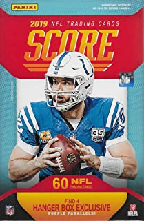 2019 Score Football Factory Sealed Hanger Box with 60 Cards including 4 Exclusive Purple Parallels and 12 Rookie Cards in each Box and Chance For Autographs of Kyler Murray and Dwayne Haskins Plus