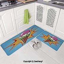 2 Piece Anti-Skid mat for Bathroom Rug,Bathroom Decor,Ice Cream Decor,Retro Pop Art Cone with Dots Comic Lifestyle Old Fashion Graphic,Multicolor,16x24in,18x53in