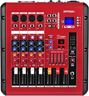 Lixada PMR406 4-Channel Digital Audio Mixer Mixing Console with Power Amplifier Function 48V Phantom Power USB Interface f...
