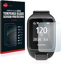 savvies Cristal Templado Compatible con Tomtom Spark Protector Pantalla Vidrio Proteccion 9H Pelicula Anti-Huellas
