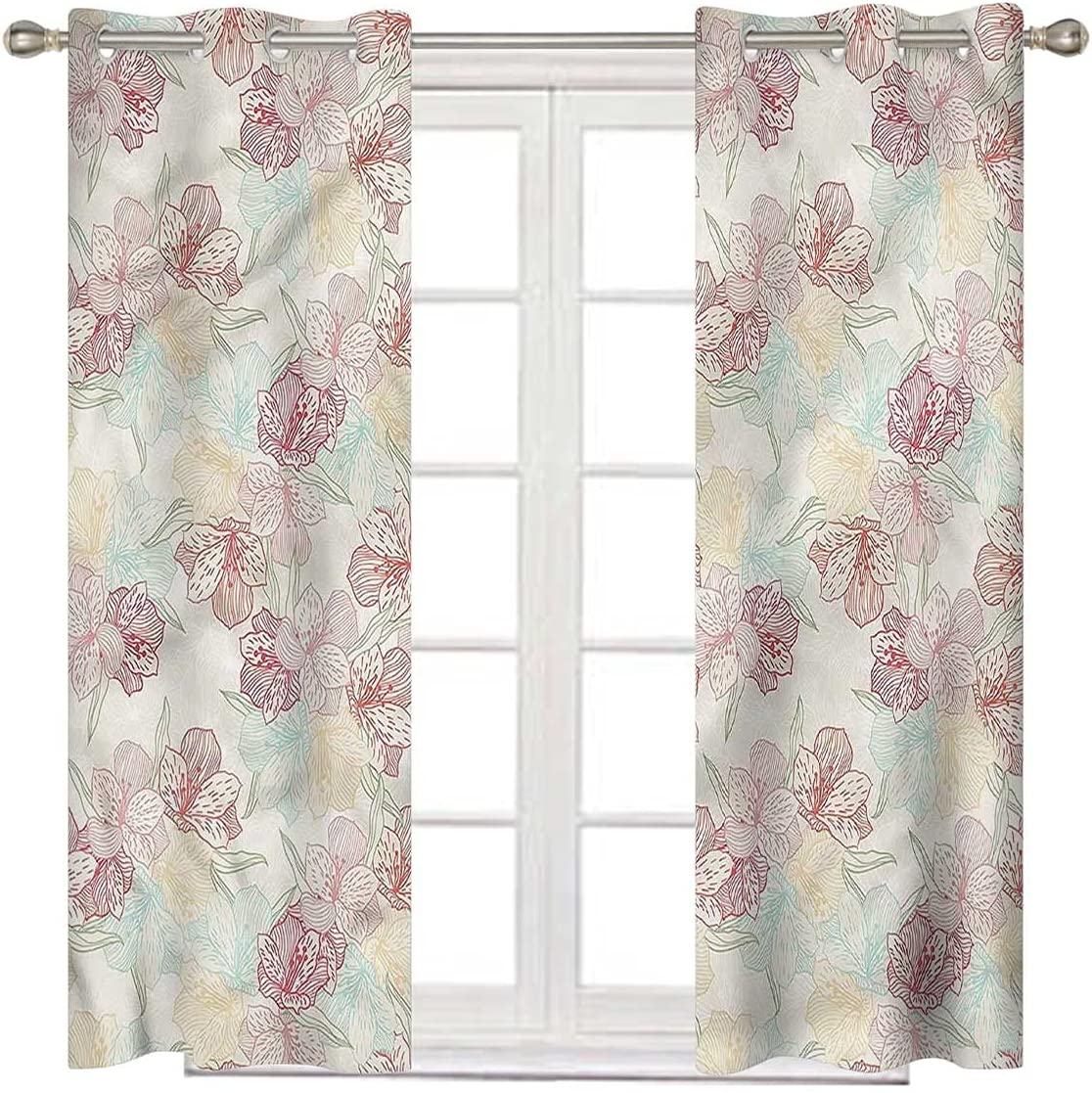 Floral Sliding Sale Door Curtains 108 Inch Soft Max 51% OFF Orchid Colors Long in