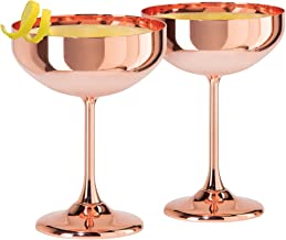 Oggi 7448.12 Copper Set of 2 Plated Coupe Cocktail Glasses (10 oz),