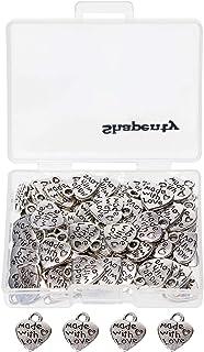 "Shapenty 100PCS Mini Metal Beads Heart Shaped""Made with Love"" Charms Bulk for DIY Craft Keychain Necklace Pendants Bracele..."