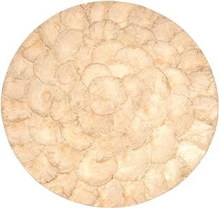 """SARO LIFESTYLE 3109.GL15R Capiz Collection Capiz Design Placemat, Gold, 15"""" (Set of 4 pcs)"""