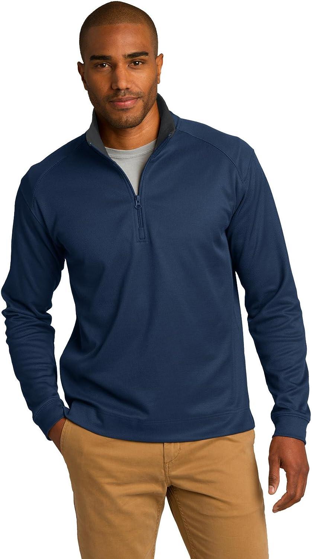 Port Authority Vertical Texture 1/4-Zip Pullover. K805 Regatta Blue/Iron Grey