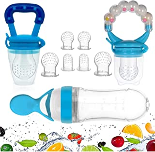 Gedebey Baby Food Feeder, Pacifier Fruit- Fresh Silicone Bottle Squeeze Spoon Frozen Fruit Pacifiers Nibbler Cover Newborn...