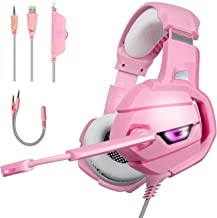 Pink Gaming Headset for Xbox One PS4 PC Laptop Nintendo Switch Mac Stereo Surround Sound Noise Canceling Headphones with LED Light Mic, Mute Volume Control