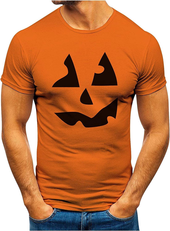 XXBR Halloween Jack-O-Lantern T-shirts for Mens, Funny 3D Pumpkin Printed Crewneck Tee Tops Athletic Casual Tshirt