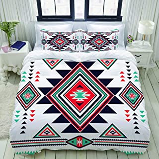 ALLMILL Duvet Cover Queen/Full Blue Triangle Navajo Aztec Big Pattern Colorful Geometric Native American Mayan Bedding Set with Zipper, 88inx88in