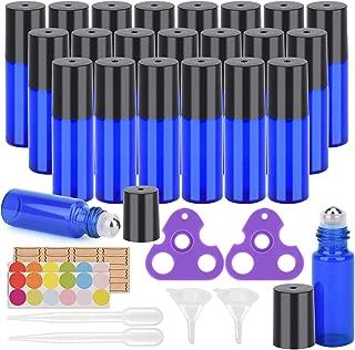Essential Oil Roller Bottles, 24 Pack Cobalt Blue Glass Roller Bottles 5ml, Roller Balls for Essential Oils, Roll on Bottles by Easytle (96 Pieces Labels, 4 Funnels, 4 Dropper, 2 Opener)