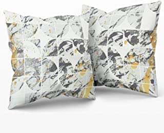 CaliTime Throw Pillow Cases Pack of 2 Cozy Fleece Marble Square Lattice Print Modern Style Cushion Covers for Couch Bed Sofa Offices Decoration 18 X 18 Inches Gray Gold