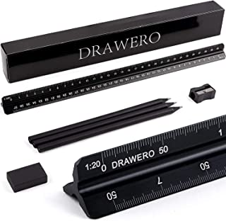 Scale Ruler Triangular Architectural 6-Piece Set- 12Inch Aluminum Black Architect Engineering Metal Scale Ruler+ 3 Pencils...