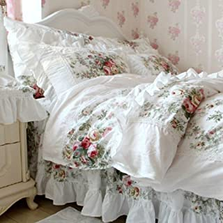FADFAY Farmhouse Bedding Elegant and Shabby Vintage Rose Floral Duvet Cover Bedskirt Lovely White Lace and Ruffle Style Ex...