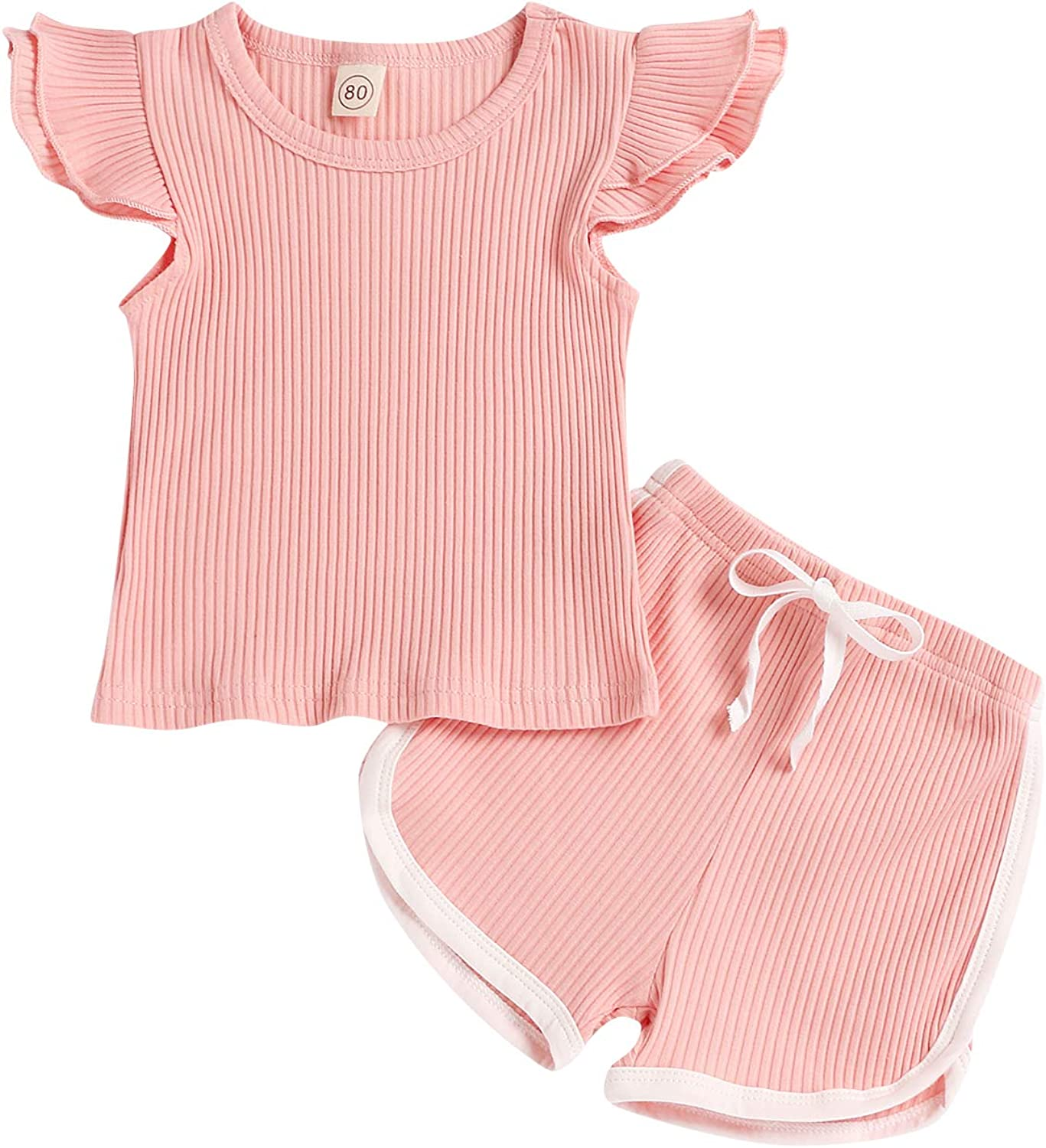 Baby Girls Shorts Outfits Set Toddler Girls Fly Sleeve T-Shirt and Shorts 2Pcs Solid Color Summer Clothes Set