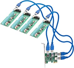 I/O Crest 4 port PCI-E x1 Transfer adapter to Powered x16 Riser Adapter Card USB 3.0 Extension Cable (SI-PEX60018)