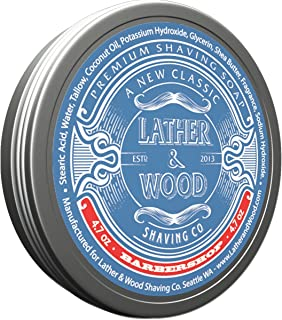 Lather & Wood Shaving Soap - Barbershop - Simply The Best Luxury Shaving Cream - Tallow - Dense Lather with Fantastic Scent for The Worlds Best Wet Shaving Routine. 4.7 oz (Barbershop)