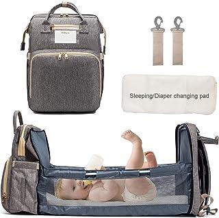 KH Diaper Bag Backpack with Auto Folding Crib, Portable Sleeping Mom Mummy Bag, Multi-Functional Baby Bassinet Diaper Back...