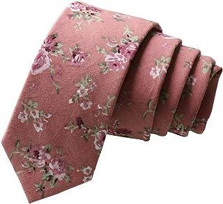 Floral Tie Men's Cotton Printed Flower Neck Tie Skinny Neckties (8550)