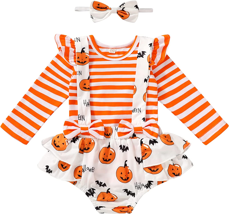 Newborn Infant Baby Girl Halloween Outfits Stripe Long Sleeve Tops+Pumpkin Strap Shorts+Headband Clothes Set