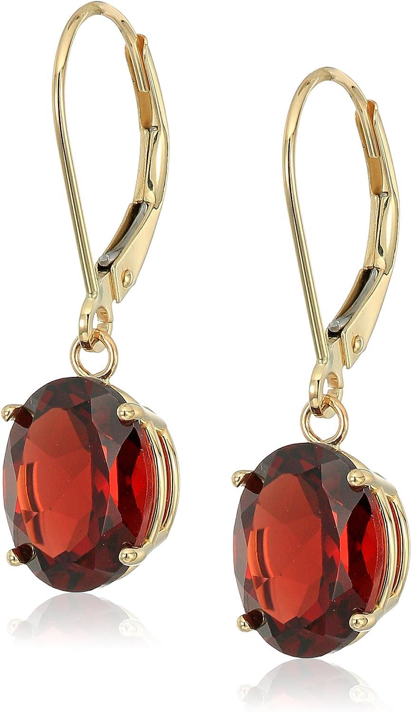 14K Gold Oval Created or Sacramento Mall Gemstone Earri Max 65% OFF Dangle Leverback Genuine