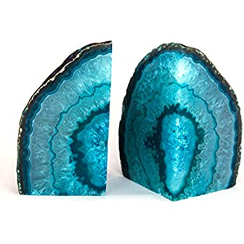 AMOYSTONE 1Pair Teal Agate Bookends 2-3 lbs for Books Small Cut Agate Stone Dyed with Rubber Bumpers