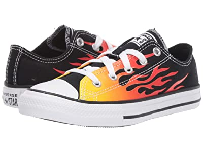 Converse Kids Chuck Taylor(r) All Star(r) Archive Flame Ox (Little Kid) (Black/Enamel Red/Fresh Yellow) Boys Shoes