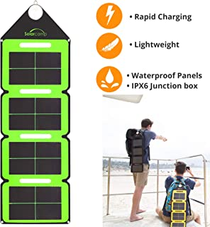 Solar Camp Ð Solympic Hue Ð Portable, Waterproof, Flexible Folding Solar Charger with CIGS Solar Panels Ð 7.6W Dual USB Charging Ports Ð for Quickly Charging Electronic Devices (Green)