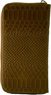 Made In Italy Genuine Leather Python Printed Woman Wallet Color Cognac - Accessories
