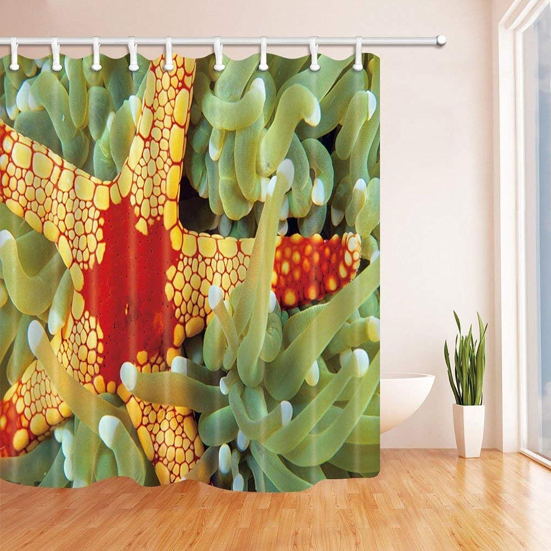 スキャン利用可能ふざけたGooEoo ヒトデの装飾、海の珊瑚のポリエステルポリエステル布の防水性バスカーテン、71X71インチ、シャワーカーテンフック、黄緑