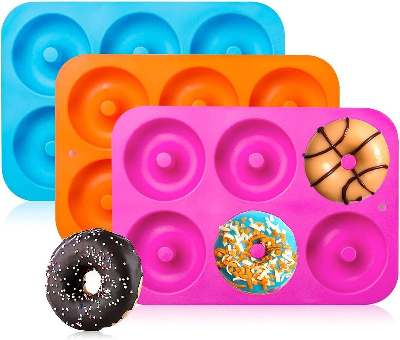 Horno,Molde para Pasteles Molde para Hornear Molde para Donut Molde de Donuts con 6 Cavidades,Antiadherente Molde de Silicona Apto para Lavavajillas Ossky 3 Piezas Molde para Donut de Silicona