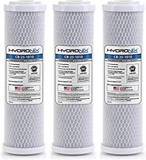 Hydronix HX-CB-25-1010/3 Reverse Osmosis & Drinking NSF Coconut Carbon Block Water Filter 2.5 x 10, 10 Micron-3 Pack, White