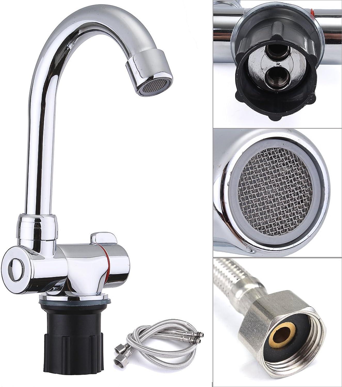 Taihang 360 Grad Kitchen Sink Rotierenden Wasserhahn Hot & Cold Wasser Faltbare Wasserhahn Set Weiche Rohre (Farbe   Farbe  Silber)
