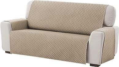 Textilhome - Funda Cubre Sofá Dante, 3 Plazas, Protector para Sofás Acolchado Reversible. Color Beige C/1