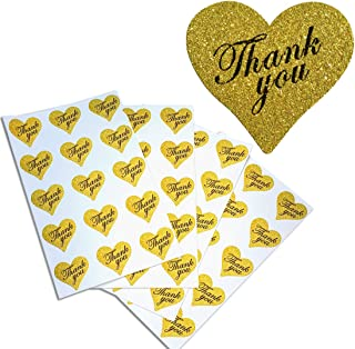 Royal Green Thank You Stickers Glitter Hearts Adhesive Labels 1.5