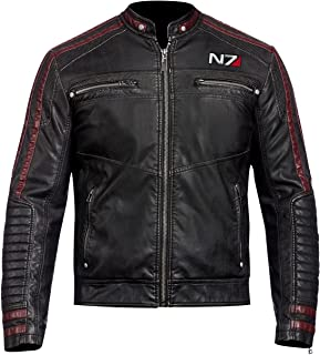 Mens Mass Effect N7 Black Street Fighter Faux Leather Jacket