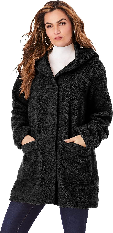 Roaman's Women's Plus Size Hooded Textured Fleece Coat