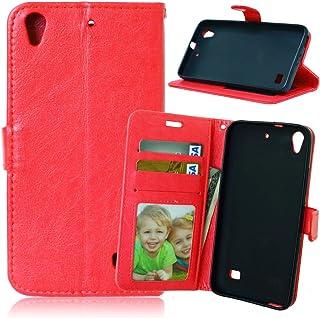 CHENJIAOTDZSH Huawei Ascend G620s用、ソリッドカラープレミアムPUレザーウォレット磁気バックルデザインフリップフォリオ保護ケースカバーカードスロット付き/Huawei Ascend G620s用スタンド (色 : 赤)